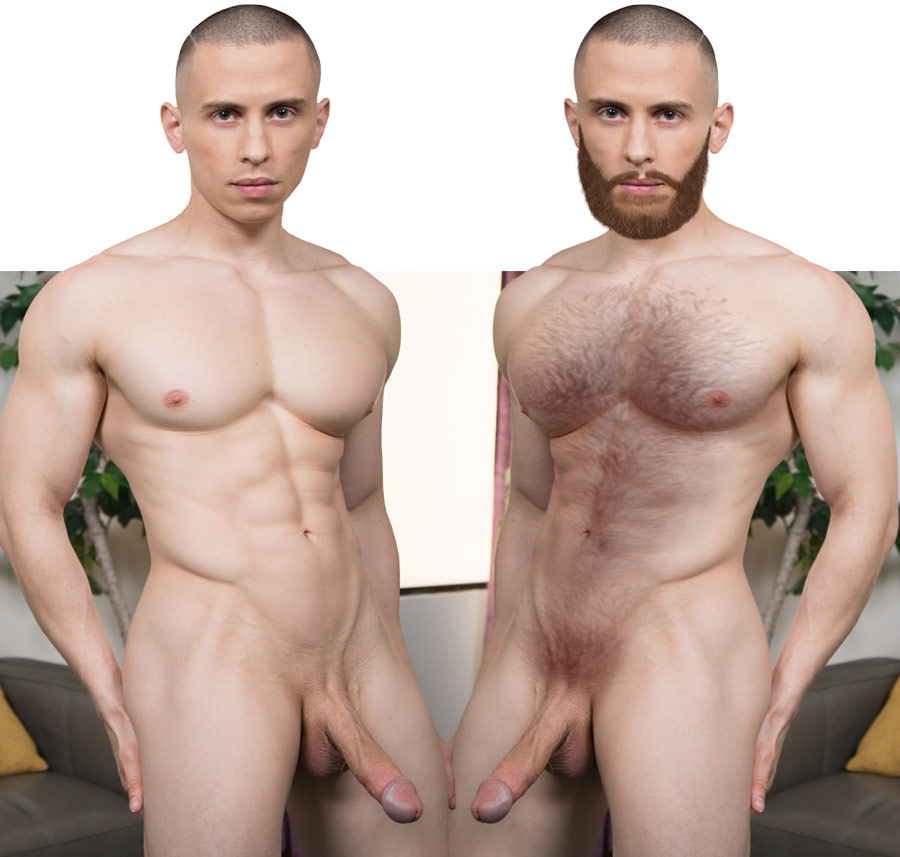 gay muscle hunk dante martin with beaerd and body hair