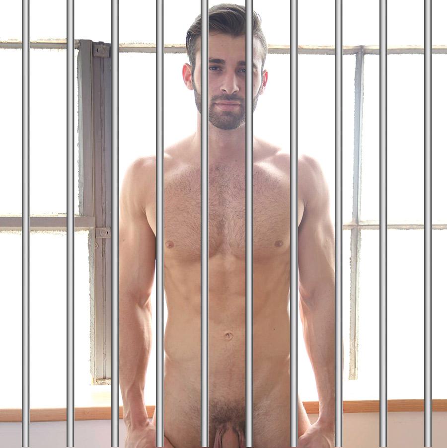 Naked boy showering in prison
